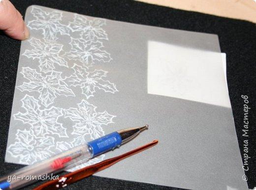 Добрый день, жители страны! Сегодня я хочу рассказать и показать как сделать такие чудесные цветы пуансетии из пергаментной бумаги, как на моей открытке.  Я видела Цветы... Из хрусталя, алмазов и сапфиров. Их для тебя придумала Зима, Из снега и Любви их сотворила... Для изготовления цветочков понадобятся: *пергаментная бумага *рисунок цветка *маленькая булька или не пишущая ручка *большая булька (у меня вязальный крючок) *ножницы *прозрачный клей Момент *бусинки  фото 3