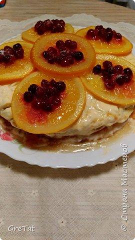 Нашла в старом журнале рецепт чудо-тортика. Апельсины немного отварила в сахарном сиропе, приготовленном на небольшом количестве апельсинового сока. Дополнительно решила украсить брусникой и припудрила фруктозой (на фото, может, не очень хорошо видно). Вместо апельсинового джема взяла какой нашла в магазине - персиковый. В остальном - все по рецепту. У меня бисквит по этому рецепту получился на троечку:-). Думаю из покупных бисквитных кожей получится прекрасный торт, в след.раз сделаю из них. фото 2