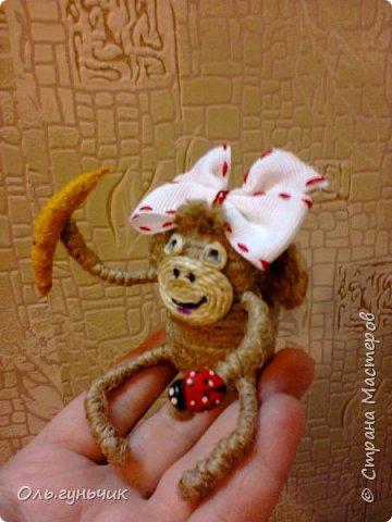 Здравствуйте всем!!!! Накопилось у меня несколько обезьянок, показываю...Эта шпагатная. Спасибо за нее Лерочку и ее МК: https://stranamasterov.ru/node/983883?c=favorite и https://stranamasterov.ru/node/964578 Я соединила два ее Мк и у меня получилась вот такая забавная обезьянка)))) Тут она сидит на телевизоре, а в новогоднюю ночь я ее посажу на бутылочку))) фото 9