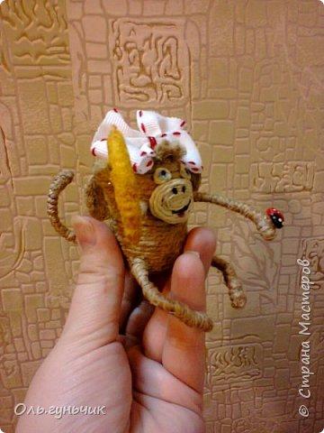 Здравствуйте всем!!!! Накопилось у меня несколько обезьянок, показываю...Эта шпагатная. Спасибо за нее Лерочку и ее МК: https://stranamasterov.ru/node/983883?c=favorite и https://stranamasterov.ru/node/964578 Я соединила два ее Мк и у меня получилась вот такая забавная обезьянка)))) Тут она сидит на телевизоре, а в новогоднюю ночь я ее посажу на бутылочку))) фото 10