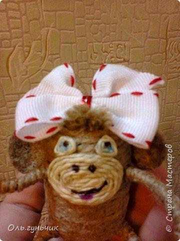 Здравствуйте всем!!!! Накопилось у меня несколько обезьянок, показываю...Эта шпагатная. Спасибо за нее Лерочку и ее МК: https://stranamasterov.ru/node/983883?c=favorite и https://stranamasterov.ru/node/964578 Я соединила два ее Мк и у меня получилась вот такая забавная обезьянка)))) Тут она сидит на телевизоре, а в новогоднюю ночь я ее посажу на бутылочку))) фото 12