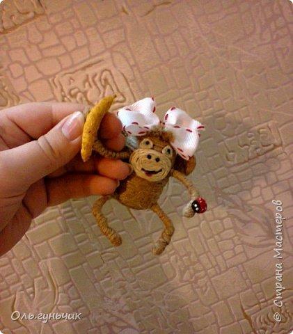 Здравствуйте всем!!!! Накопилось у меня несколько обезьянок, показываю...Эта шпагатная. Спасибо за нее Лерочку и ее МК: https://stranamasterov.ru/node/983883?c=favorite и https://stranamasterov.ru/node/964578 Я соединила два ее Мк и у меня получилась вот такая забавная обезьянка)))) Тут она сидит на телевизоре, а в новогоднюю ночь я ее посажу на бутылочку))) фото 6