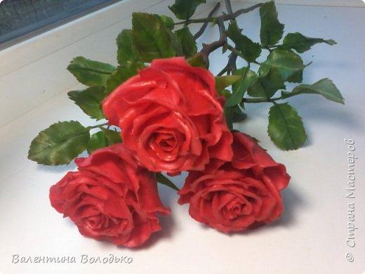 Здравствуйте мастера и мастерицы Страны Мастеров!!!С наступающим Новым годом вас!!Потихоньку осваиваю холодный фарфор.Сегодня у меня красные розы,в тон хозяйке года огненной обезьяны. фото 14