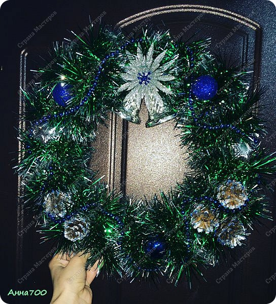 Новогодний венок мини мк фото 6