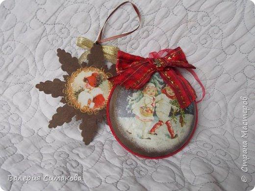 Новогодний наборчик))) большой, красивый))) два медальона (диаметр 12 см), 2 шарика (диаметр 8 см) и звездочка..... фото 9