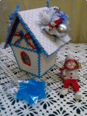 Новогодний теремок для Снеговичка , вдохновляласьу Ирины Рязаночки,спасибо большущее ей за МК. фото 2