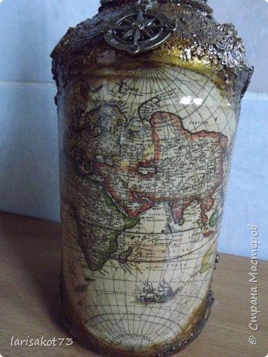 Задумала брату на юбилей отдекупажить бутылку. Ну и понеслось.... Бутылка есть в пиратском стиле. А к ней надо сундук. Потом в сундук карту пиратов, монеты... фото 17