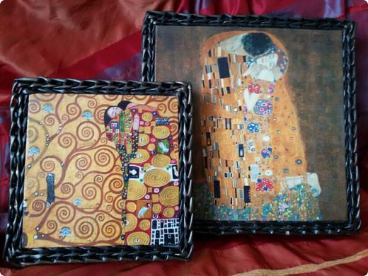 вот и я сплела черные корзины с патиной)  для родственницы в подарок на новый год. хотелось ей что то не обычное... много я перелопатила в интернете картинок чтобы ей угодить. и вот беспроигрышный вариант)  картины густава климта. и под них решился черный цвет.  фото 2
