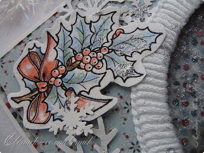 """Здравствуйте, мои дорогие! С наступающим Новым годом! Сегодня у меня открытка из серии """"Я надену все лучшее сразу"""":))) Научилась делать шейкер. Ура! (Первый шейкер-елочку сделала в прошлом году на приглашение на Новогодний утренник для мальчика. Если найду фото - покажу в конце поста). А этот сделала уже по велению сердца:) Научилась вязать цветочки крючком! Ура! Ура! Ура! Все - в открытку! фото 4"""