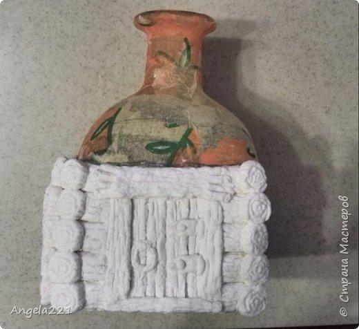 Декор предметов Мастер-класс Новый год Лепка Папье-маше Избушка бабы Яги Бумага Клей Краска Салфетки фото 11