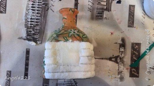Декор предметов Мастер-класс Новый год Лепка Папье-маше Избушка бабы Яги Бумага Клей Краска Салфетки фото 13