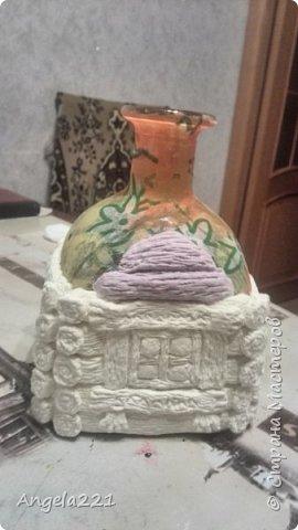Декор предметов Мастер-класс Новый год Лепка Папье-маше Избушка бабы Яги Бумага Клей Краска Салфетки фото 18