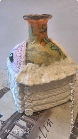 Декор предметов Мастер-класс Новый год Лепка Папье-маше Избушка бабы Яги Бумага Клей Краска Салфетки фото 22