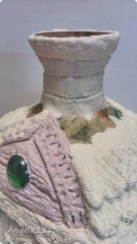 Декор предметов Мастер-класс Новый год Лепка Папье-маше Избушка бабы Яги Бумага Клей Краска Салфетки фото 26