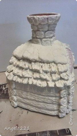 Декор предметов Мастер-класс Новый год Лепка Папье-маше Избушка бабы Яги Бумага Клей Краска Салфетки фото 31