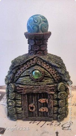 Декор предметов Мастер-класс Новый год Лепка Папье-маше Избушка бабы Яги Бумага Клей Краска Салфетки фото 37