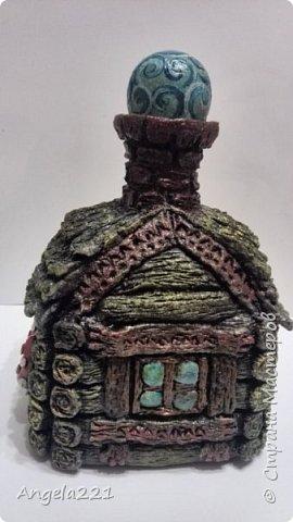 Декор предметов Мастер-класс Новый год Лепка Папье-маше Избушка бабы Яги Бумага Клей Краска Салфетки фото 38