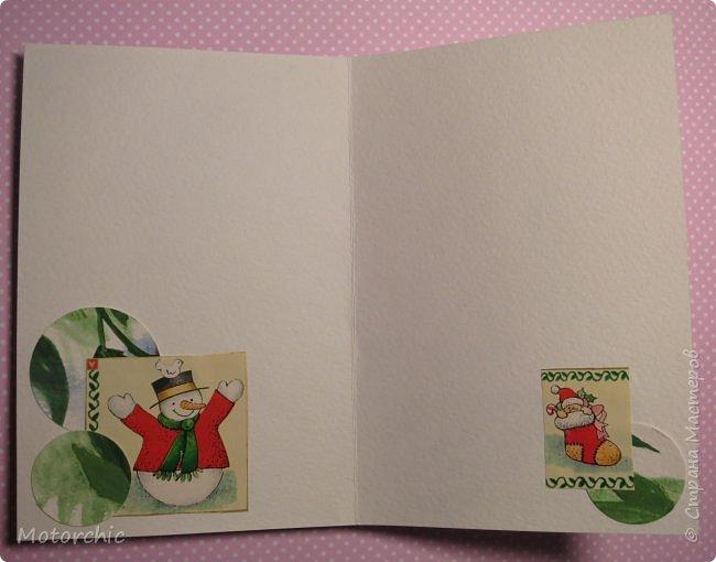 """Сегодня пошел снег. Первый. И хотя я его """"шаманила"""" при помощи новогодних подвесок со снеговиками и падающим снегом, подстраховаться вчера решила еще и новогодними открытками со снегом =) фото 8"""