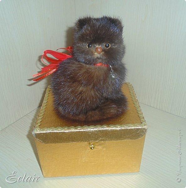 Котенок из меха норки наклеенной на основу из пенопласта.  фото 1