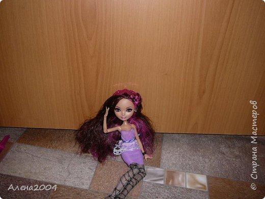 Привет СМ. Вчера у меня появилась новенькая !!!!   Я хочу рассказать как она у меня появилась. Я ходила по комнате возле елки и решила заглянуть под неё.Ну смотрю я , смотрю и увидела там 2 коробки конфет(мне и сестрёнке) .Послетого как я дала сестрёнке ее коробку мама сказала что на окне что -то стоит . Я пошла посмотреть а там стоят Браер и Дракулаура +пони Пинки Пай!!!! Ну не буду больше болтать а перейдем к Браер.Платье на Браер я сшьла сама. фото 2