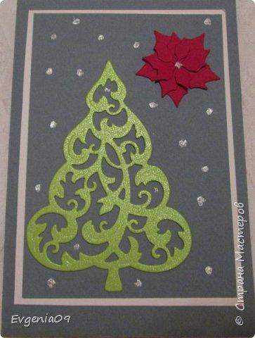 Всех С Новым годом!!! У нас недавно был благотворительный базар, и я приобрела две елочки-вырубки.  Из одной сделала открытку для своей однокурсницы. фото 1
