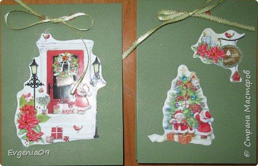 Всех С Новым годом!!! У нас недавно был благотворительный базар, и я приобрела две елочки-вырубки.  Из одной сделала открытку для своей однокурсницы. фото 6