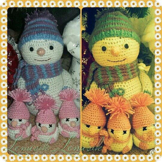 Привет СМ! Решила связать снеговиков в подарок на Новый Год моим бабушкам. Большого оставила себе, а маленьких уже раздарила. Всем бабушкам понравились!