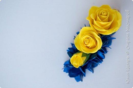 Желтые розы и синяя гортензия из фоамирана фото 2