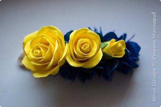 Желтые розы и синяя гортензия из фоамирана фото 3