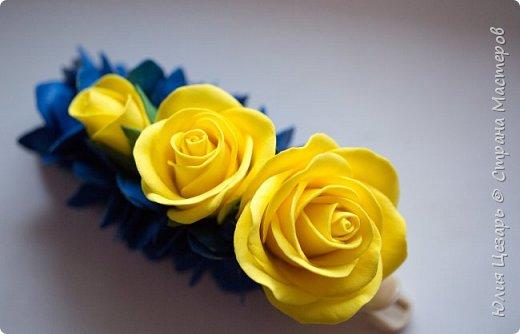 Желтые розы и синяя гортензия из фоамирана фото 6