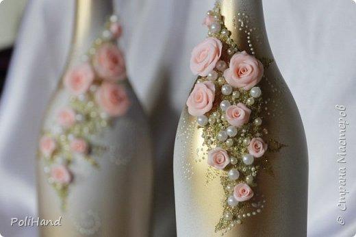 Украшение бутылок на свадьбу Авторская работа на заказ фото 4