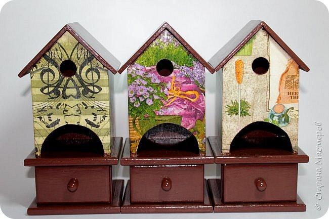 Три чайных домика со шкатулочками.  Переделывала два раза, но в итоге осталась довольна) фото 1
