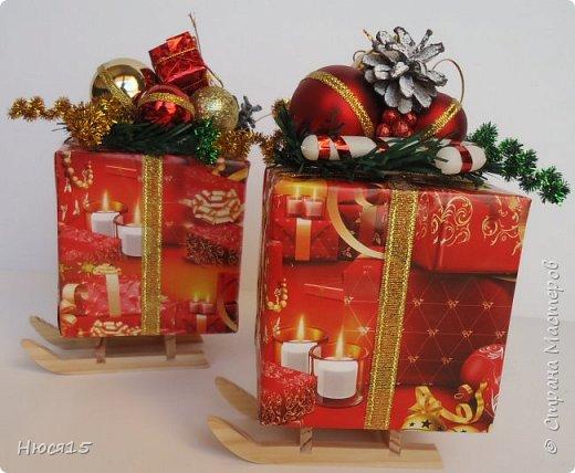 С Новым годом!!! Счастья, здоровья, любви и вдохновения!!! Начну с санок с конфетами для детишек:)   фото 3
