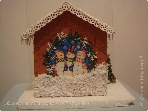Наша новогодняя поделка в детский сад. Очень хотелось достоверно изобразить снег. Магазинный,из Ашана, испытание не прошел. Отлично разлитается по квартире, но плавится от клея и не хочет мерцать фото 4