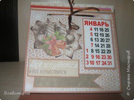 На новый год сделала для подруги календарь. Его можно поставить на стол.  фото 2