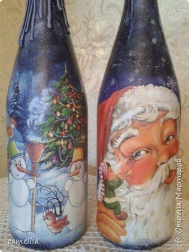 Подарочное оформление бутылок к новому году.