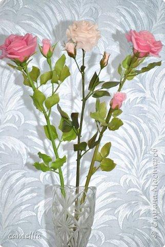 К сожалению больше нет фоток. Эти розы уже приобрели новых хозяев.  Розы высокие, лепились для напольной вазы, примерно 65-7о см высотой. В этой вазе нет должного эффекта, просто она тяжелая и по крайней мере не переворачивается, все-таки розы тяжеловаты получились.
