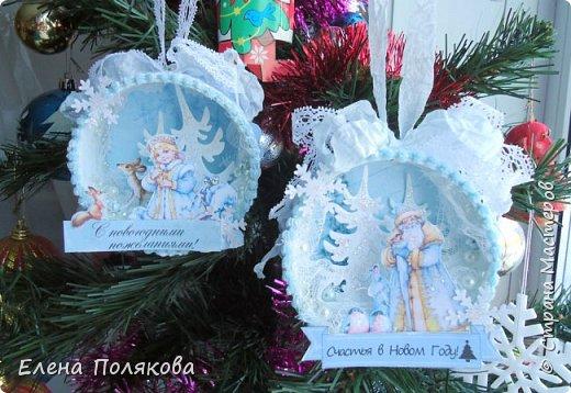 Пара подвесок с главными героями новогодних праздников -  Дедом Морозом и Снегурочкой, которые пришли к нам  из сказочного, сверкающего от снега зимнего леса.
