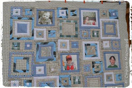Это одеяло, вернее покрывало , я шила сыну в подарок на Новый Год. Фотографии старые, на бумажной основе. Отсканированы, переведены в цифру и распечатаны на ткани. Размер 145х205см.  Подарок очень понравился. фото 4