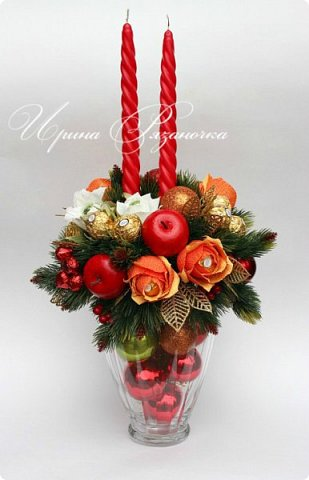 """""""Рождественские свечи зажгу я в этот вечер, и про себя спрошу - ну как, твои дела?""""  Всем, всем здравствуйте! Как ваши дела, мои дорогие? К моему великому сожалению новогодних блогов у меня в этот раз не было.... Поэтому гружу свой блог в сочельник. Приглашаю всех к теплому очагу со свечами. Да уж, свечей в этот раз  у меня много)))  Итак - две подарочные композиции в кашпо со свечами. Без конфет. Для интерьера.  фото 18"""
