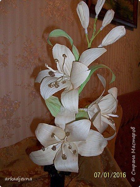 Здравствуйте, Мастера  и Мастерицы!! Поздравляю всех с Рождеством, мира, благополучия, здоровья всем, всем. Вот наконец я сделала одну из своих хотелок. Очень мне нравятся поделки из листьев кукурузы, плетение, цветы, куклы.В этом году заготовила на даче листики и изучив МК сделала цветы.  Лилии будут стоять в моей напольной плетенной вазе, поэтому и размер соответствующий.  Талаш красила пищевыми красителями: розовый, зеленый, и натуральный цвет.  Листики закручивала утюгом и  щипцами для волос. фото 5
