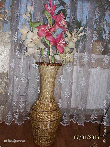 Здравствуйте, Мастера  и Мастерицы!! Поздравляю всех с Рождеством, мира, благополучия, здоровья всем, всем. Вот наконец я сделала одну из своих хотелок. Очень мне нравятся поделки из листьев кукурузы, плетение, цветы, куклы.В этом году заготовила на даче листики и изучив МК сделала цветы.  Лилии будут стоять в моей напольной плетенной вазе, поэтому и размер соответствующий.  Талаш красила пищевыми красителями: розовый, зеленый, и натуральный цвет.  Листики закручивала утюгом и  щипцами для волос. фото 13