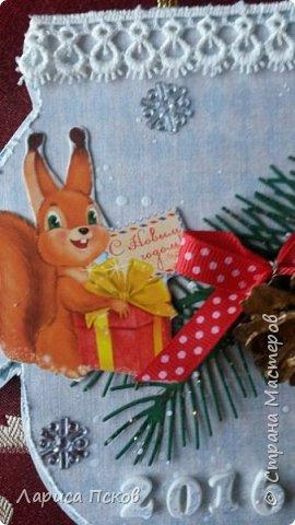 В канун Нового года смастерила для внуков открыточки. фото 7