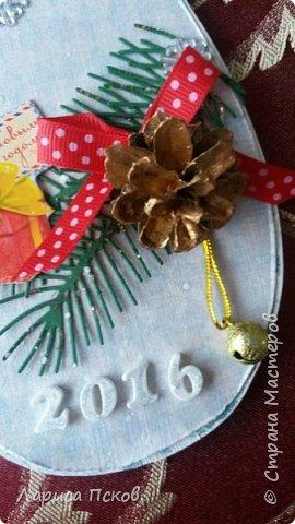В канун Нового года смастерила для внуков открыточки. фото 6