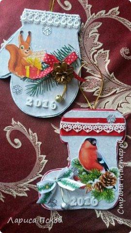 В канун Нового года смастерила для внуков открыточки. фото 1