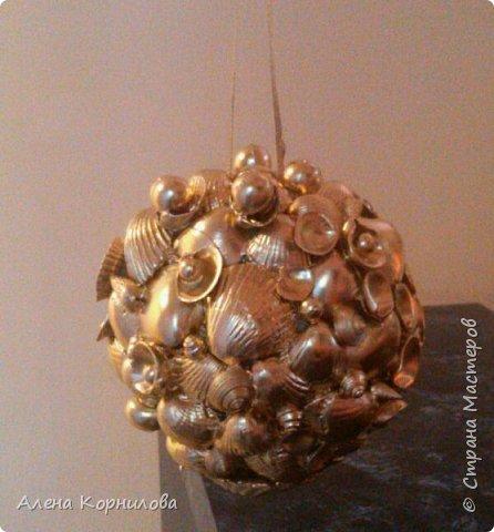шар из ракушек - покрытый лаком металлик фото 1
