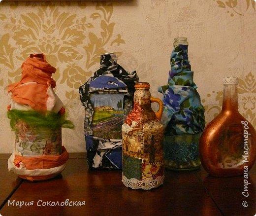 Декор 5 бутылочек в разных техниках фото 1