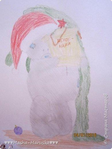 """Привет, любители рисования! Сегодня я сдаю работу на конкурс """"Новогодние герои"""". Мой новогодний герой это всеми любимый Тедди. Плюшевые мишки тоже готовятся к праздникам. Представляю к вашему вниманию два рисунка. Первый рисунок """"Подготовка к празднику"""". На нём изображён мишка Тедди. В его лапах коробка с надписью """"Декорации"""". На голове Тедди надет новогодний колпак. На картинке можно увидеть надпись """"НоВыЙ гОд!"""". фото 6"""