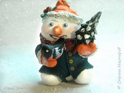 Хорошо лепить снеговиков, сидя дома, руки не мерзнут и щек мороз не щипет:) А морозец у нас нынче знатный, за 30 градусов, не разгуляешься) фото 1