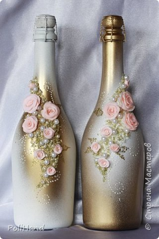 Украшение бутылок на свадьбу Авторская работа на заказ фото 2